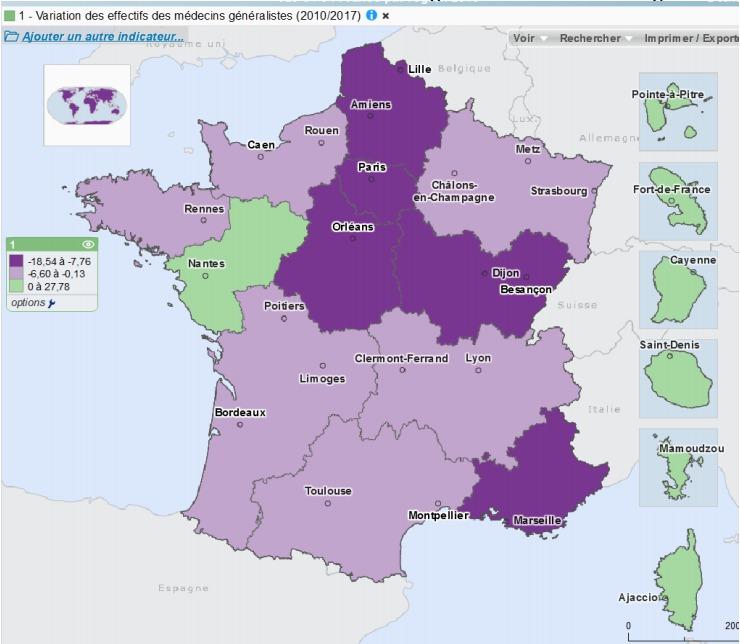 Graphique 2 : Variation des effectifs des médecins généralistes en activité régulière à l'échelle régionale (2010/2017)