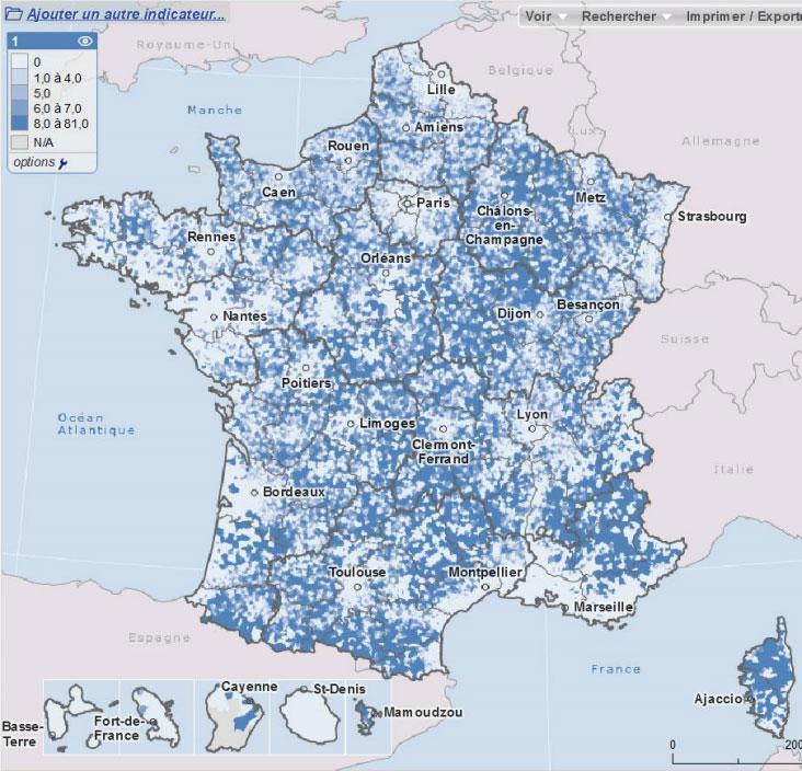 Graphique 3 : Distance d'accès (en km) à un médecin généraliste