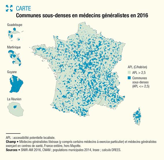 Communes sous-denses en médecins généralistes en 2016