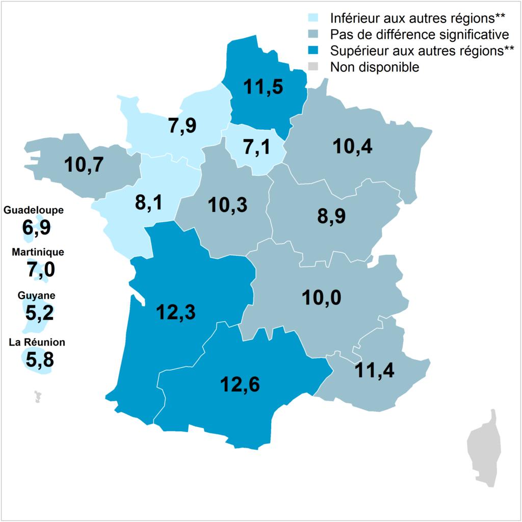 Prévalences régionales de la consommation quotidienne d'alcool