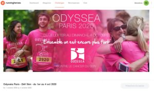 Capture d'écran du défi Odysséa Paris 2020 - 5 km sur Running Heroes