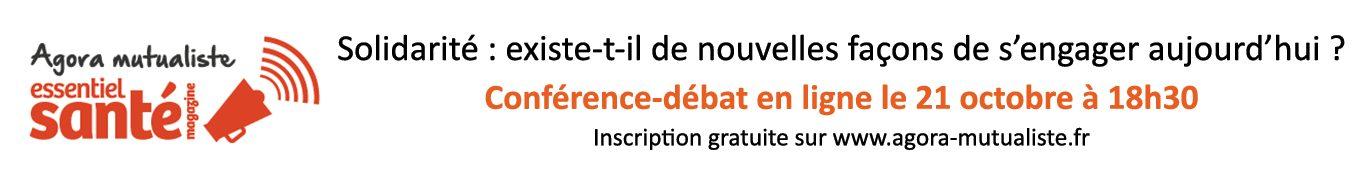 Publicité pour l'Agora mutualiste sur la solidarité le 21 octobre 2021